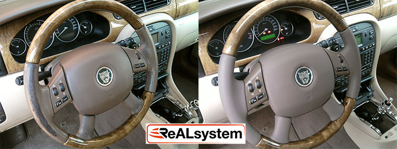 Regeneration of wood and leather steering wheel